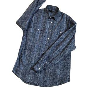 J. Campbell Navy Pattern Pearl Snap Button Shirt